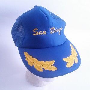 Vintage San Diego Hat Trucker Cap Military CA